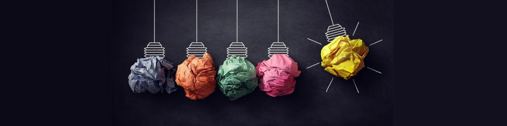 Efficiency Ideas light globes made from scrunched up coloured paper